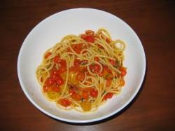 Spaghetti with Fresh Picked Cherry Tomatoes