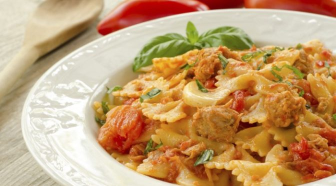 Farfalle with Sausage in Vodka Sauce