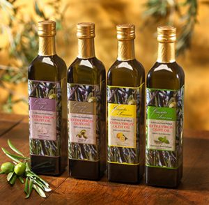 Cassata Sonoma Winery & Vineyard's specialty gourment extra virgin olive oil gift box set containing lemon, rosemary basil, garlic and original flavors