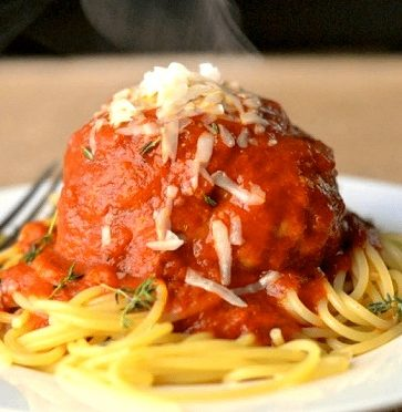 Slow Cooker Pork Meatballs with Spaghetti